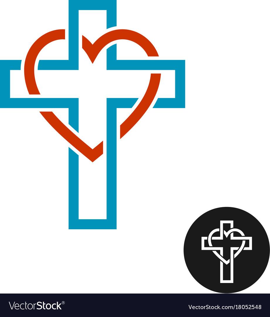 Heart and cross love religion theme logo vector image