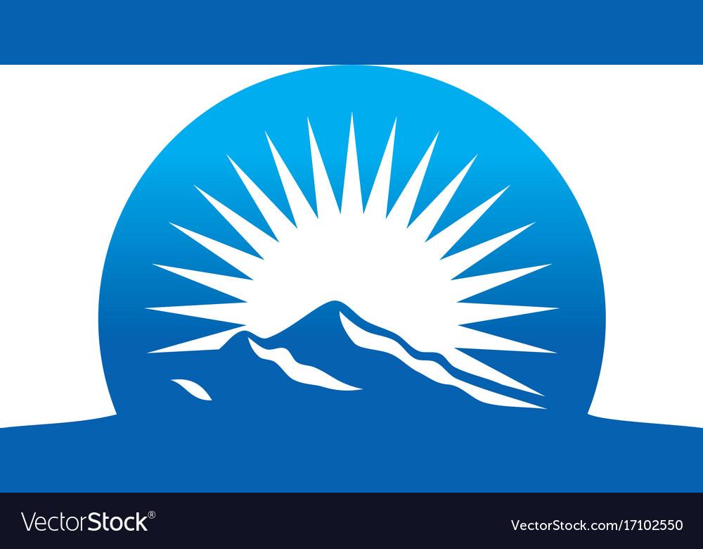 High mountain abstract sun logo vector image