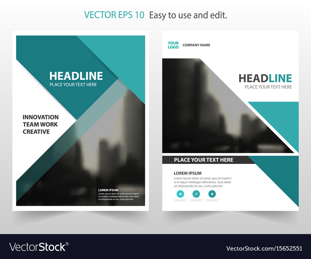 Green abstract annual report brochure vector image