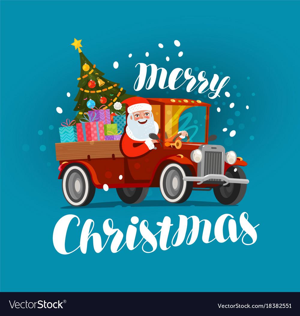 Merry christmas greeting card happy santa claus vector image kristyandbryce Choice Image
