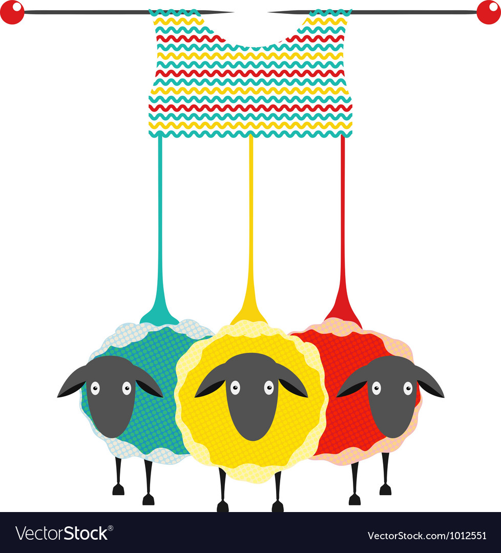 Three Knitting Yarn Sheep vector image