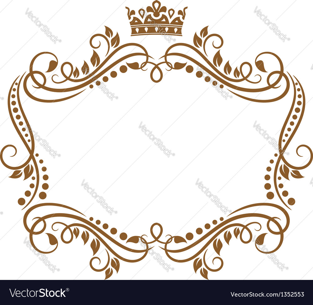 Retro frame with royal crown and flowers Vector Image