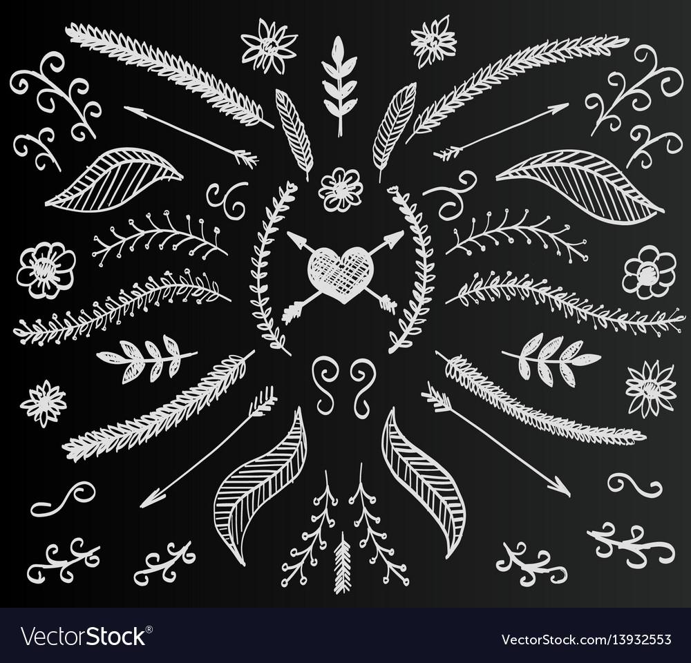 Chalkboard flower set hand drawn vintage floral vector image