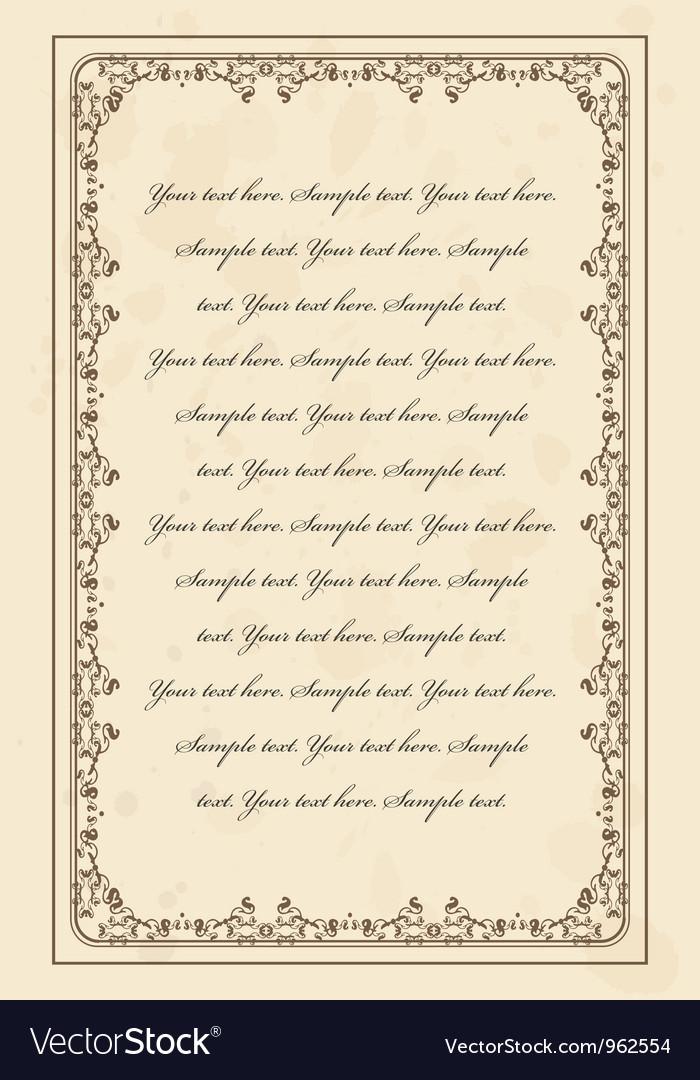 Vintage parchment frame vector image