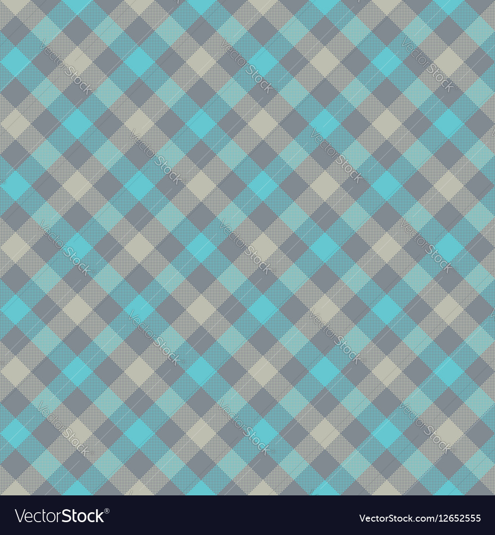 Blue gray check plaid fabric texture seamless Vector Image