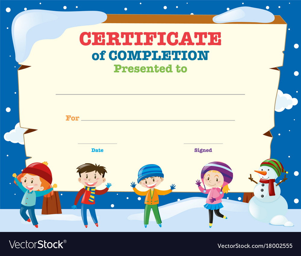 Certificate template with kids in the snow vector image certificate template with kids in the snow vector image xflitez Choice Image