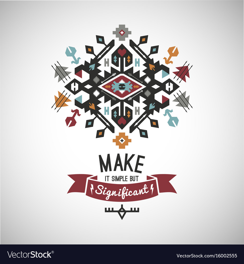 Colorful tribal navajo style ornamental vector image
