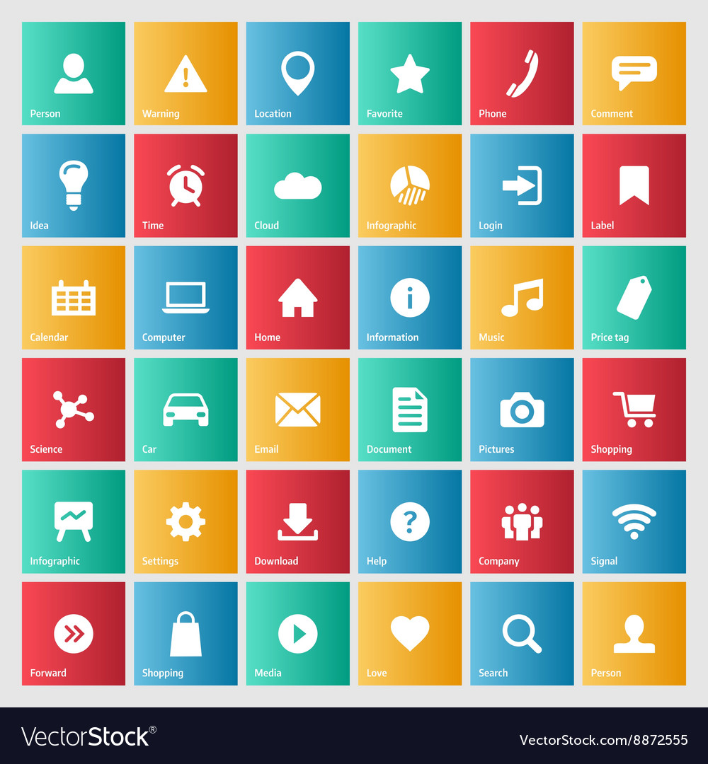 Universal colorful web icons set for internet vector image