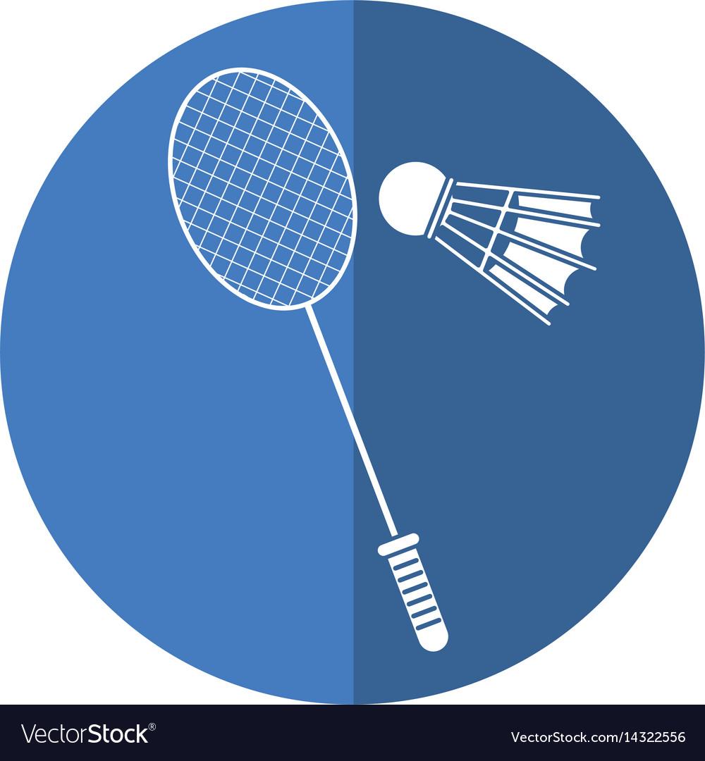 Badminton racket shuttlecock sport shadow vector image