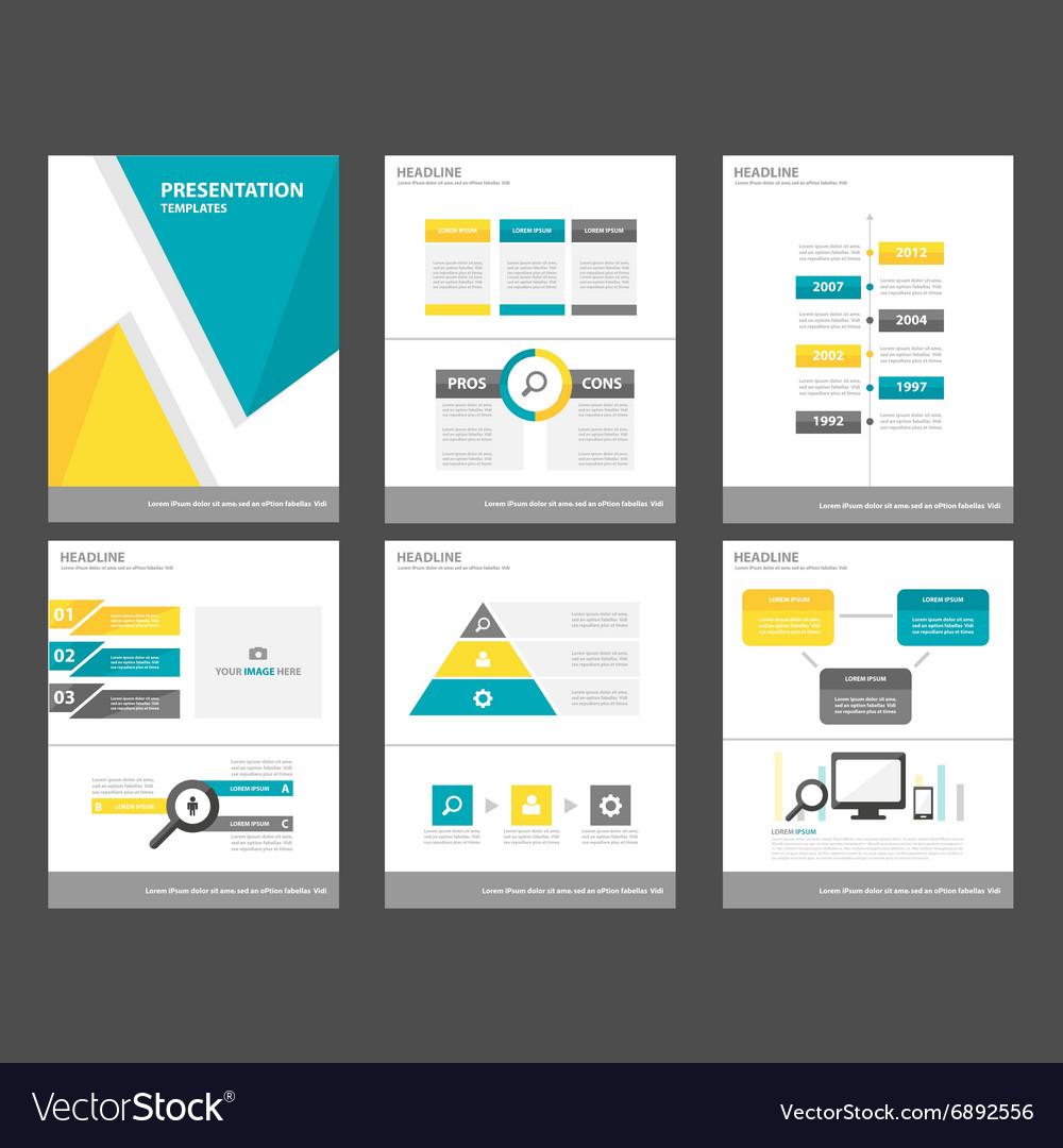 Blue yellow presentation template Infographics set vector image