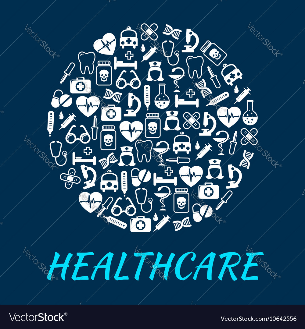 Healthcare medical poster with medication icons vector image
