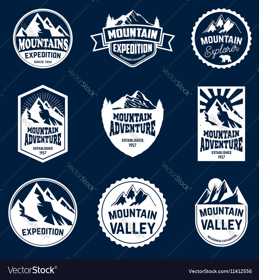 Set of mountains hiking and outdoor adventures vector image