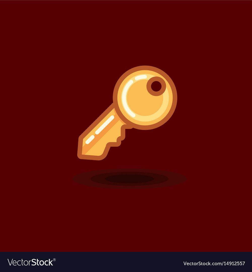 Icon key isolated flat key vector image