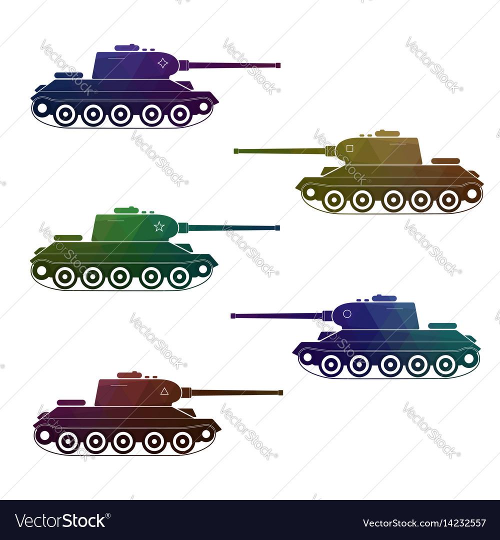 Set of five battle retro multicolor tanks vector image