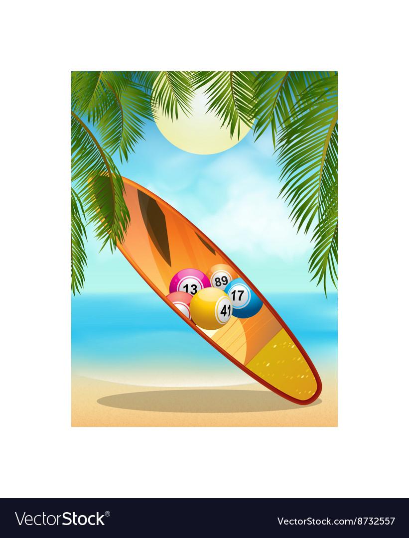 Tropica beach with bingo surfboard vector image