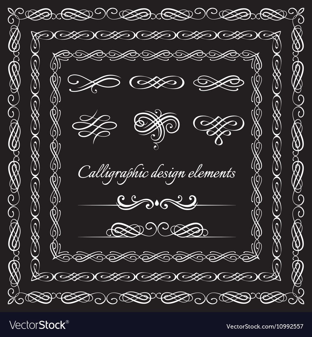 Vintage frames borders calligraphic and page vector image