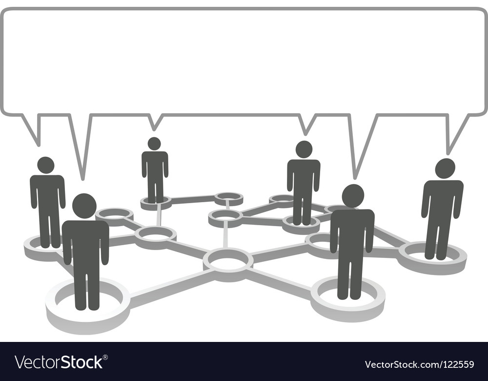 Connected people communicate business social vector image