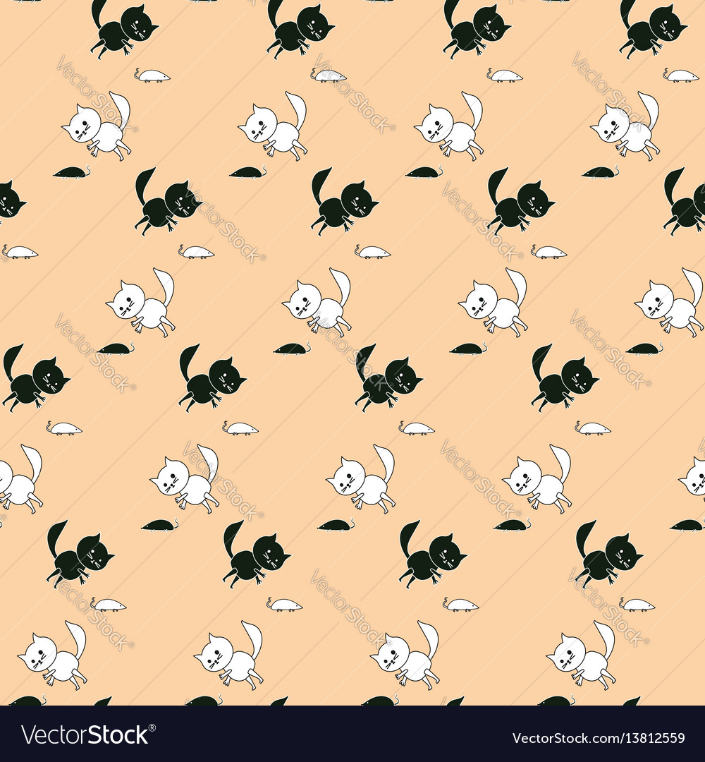 Childrens cartoon pattern with cats and mice vector image
