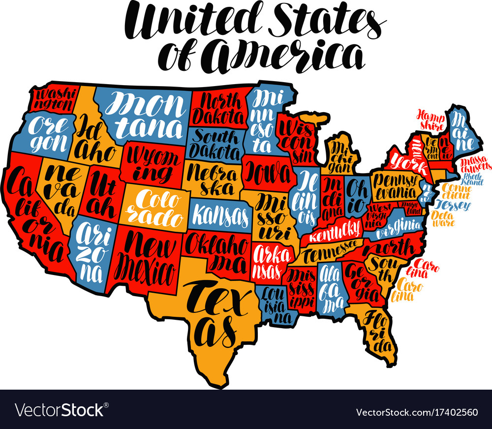 Usa Map Country United States Of America Vector Image - The usa map