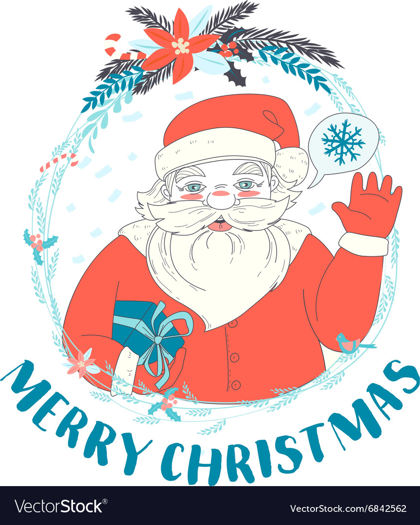 Festive funny merry christmas card with santa vector image m4hsunfo
