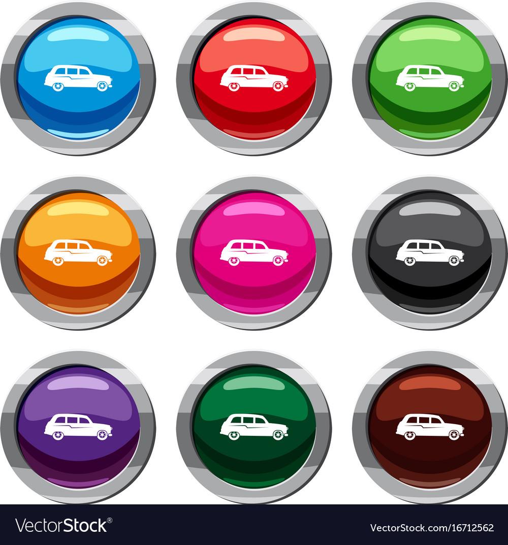 Retro car set 9 collection vector image