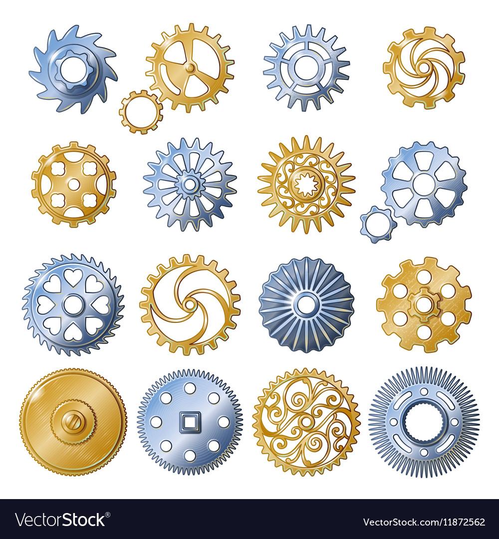Retro Gear Elements Set vector image