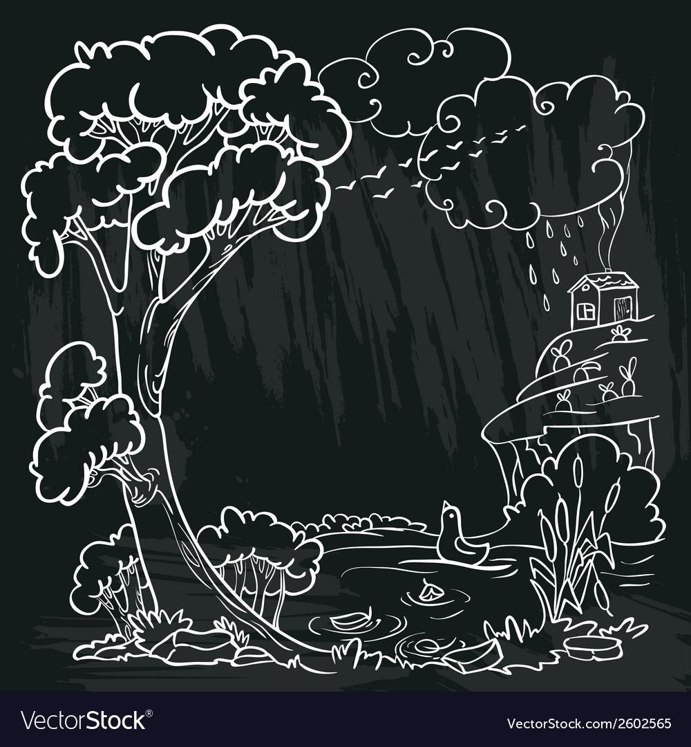 Autumn doodle frame vector image