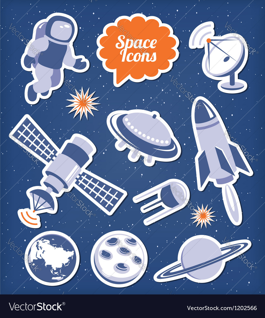 Space icons set Vector Image