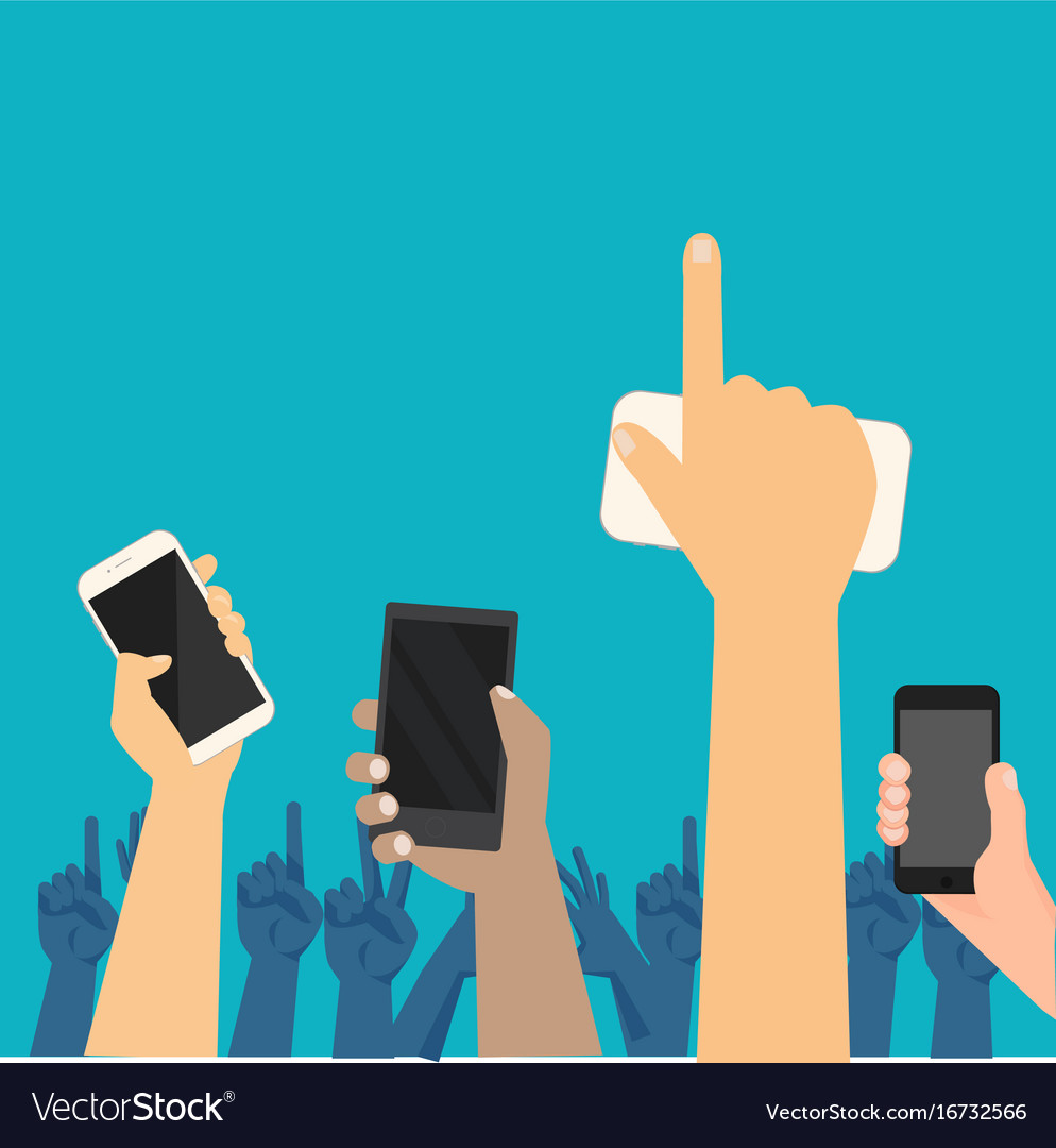 People hands up on concert show with smart phone vector image