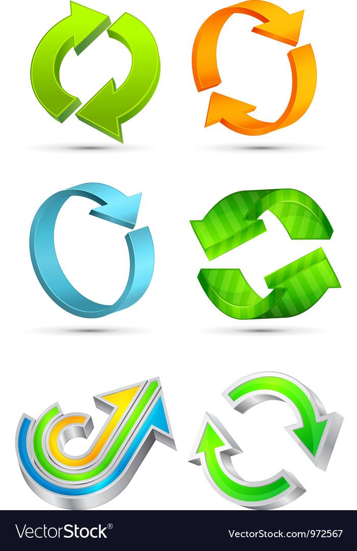 Colorful 3d arrows vector image