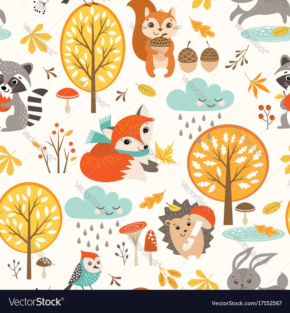 Cute autumn rainy pattern vector image