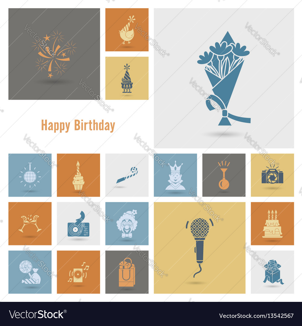 Happy birthday icons set vector image