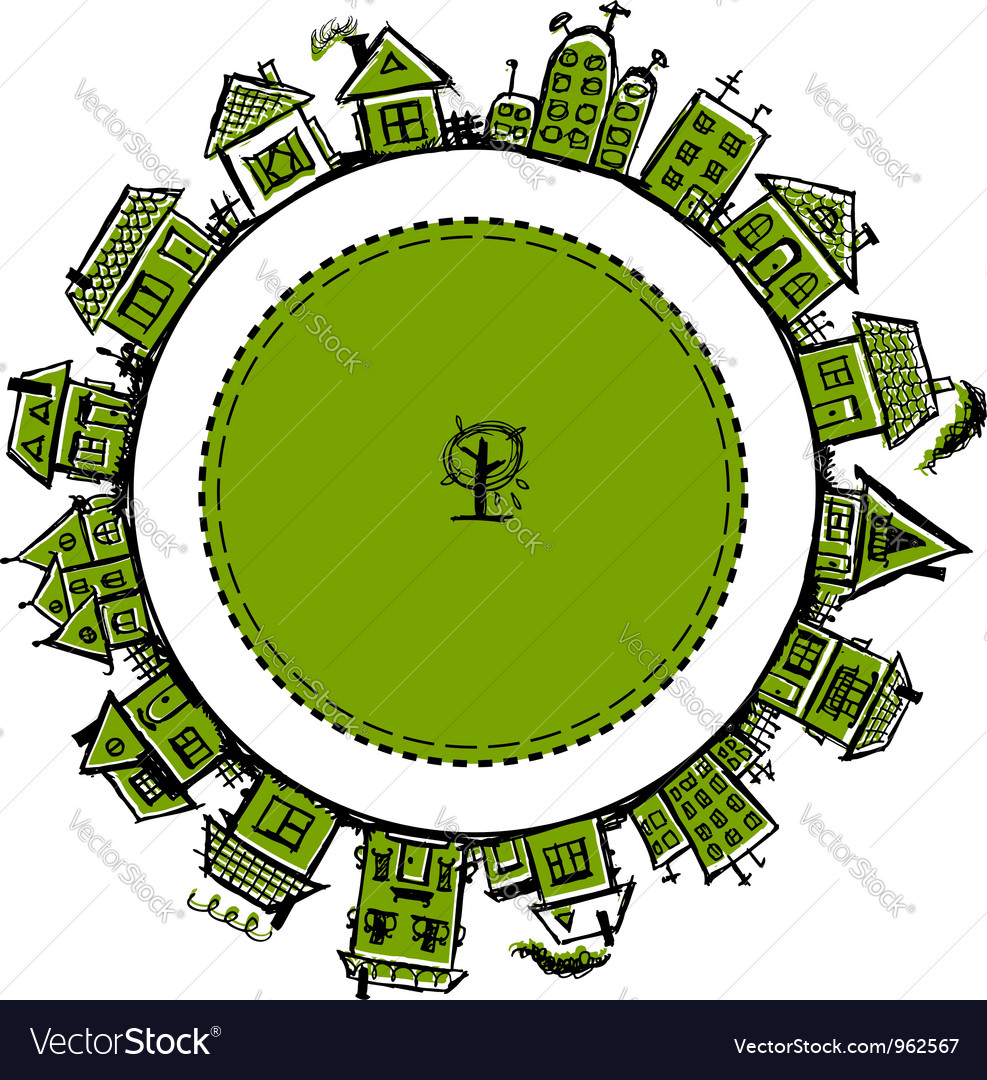 Happy village frame with houses for your design vector image