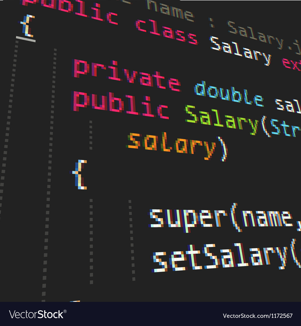 Java programing code on dark background vector image