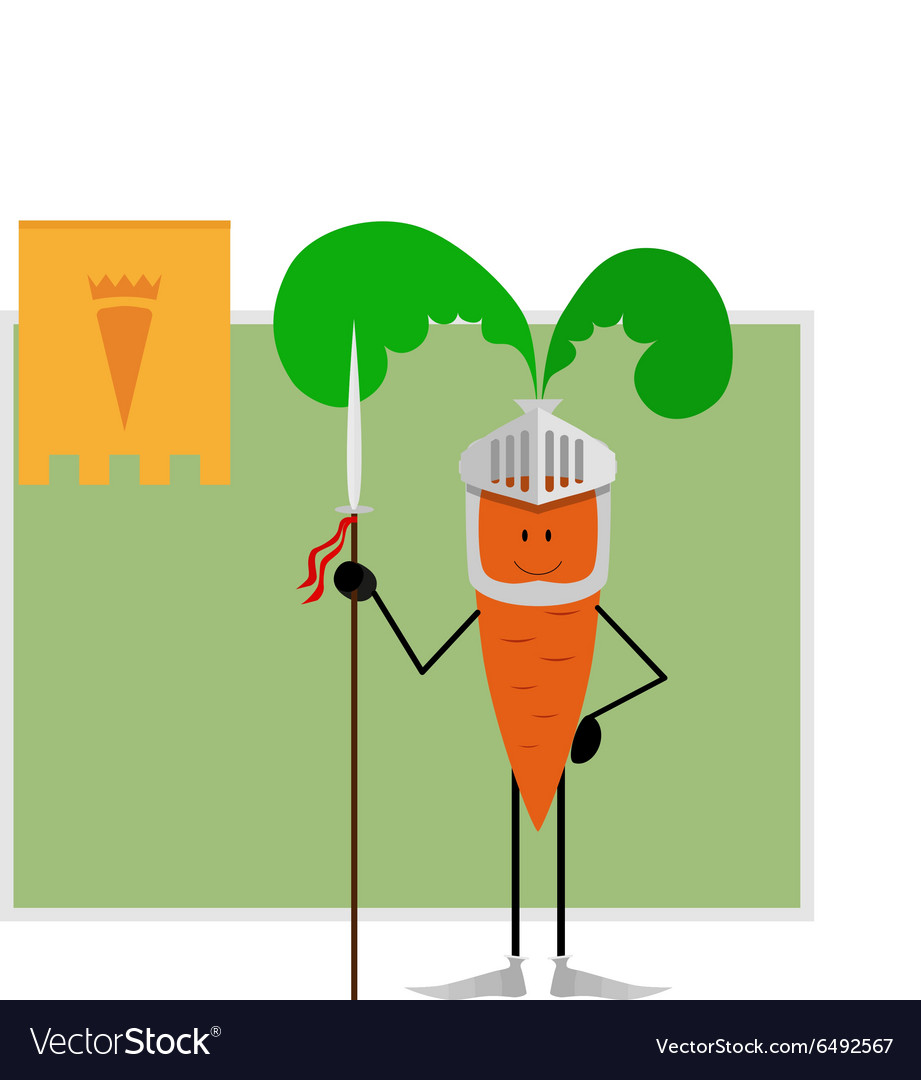 Eating and health - Knight Carrots Guard Healthy Eating And Health Vector Image