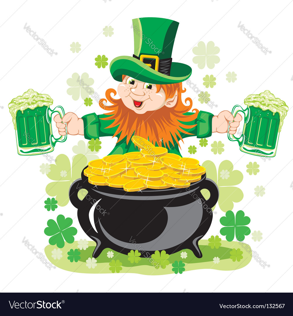 leprechaun with mug of beer royalty free vector image