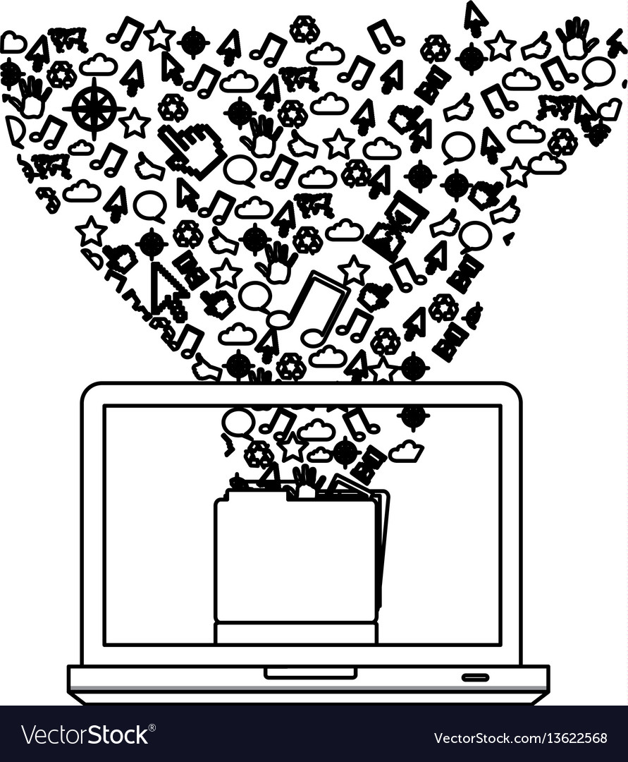 Contour computer with technological icon vector image