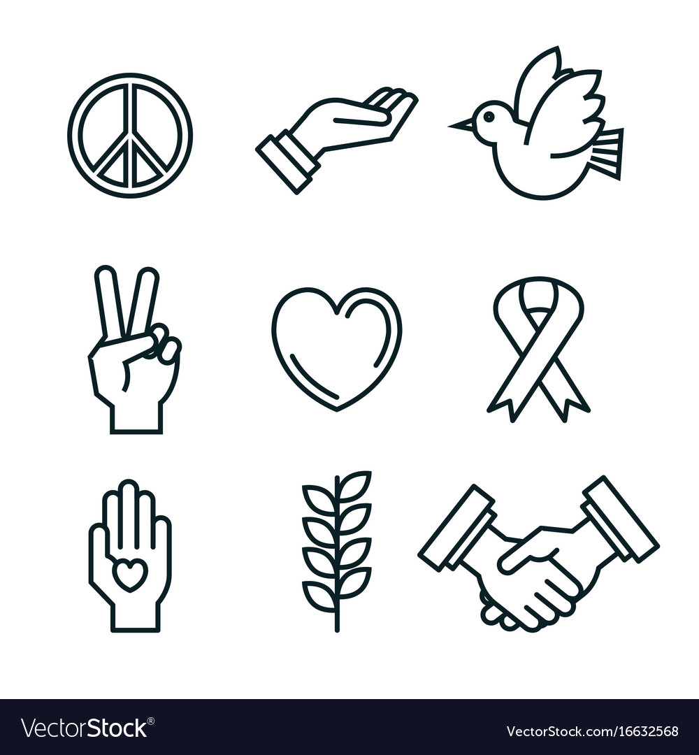 Symbols peace for international peace day icons vector image biocorpaavc Images