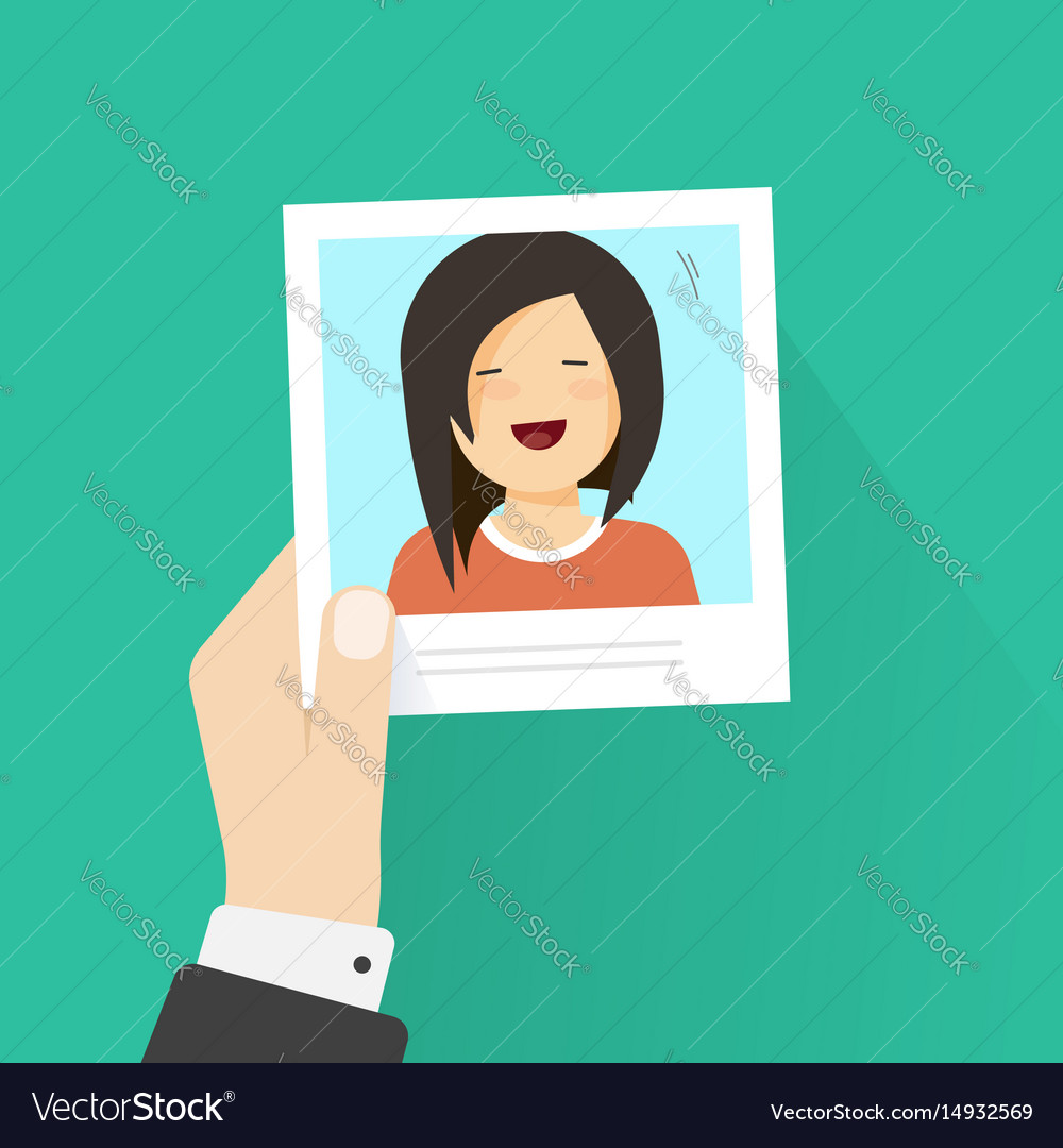 Hand holding paper photo frame with happy girl pic vector image