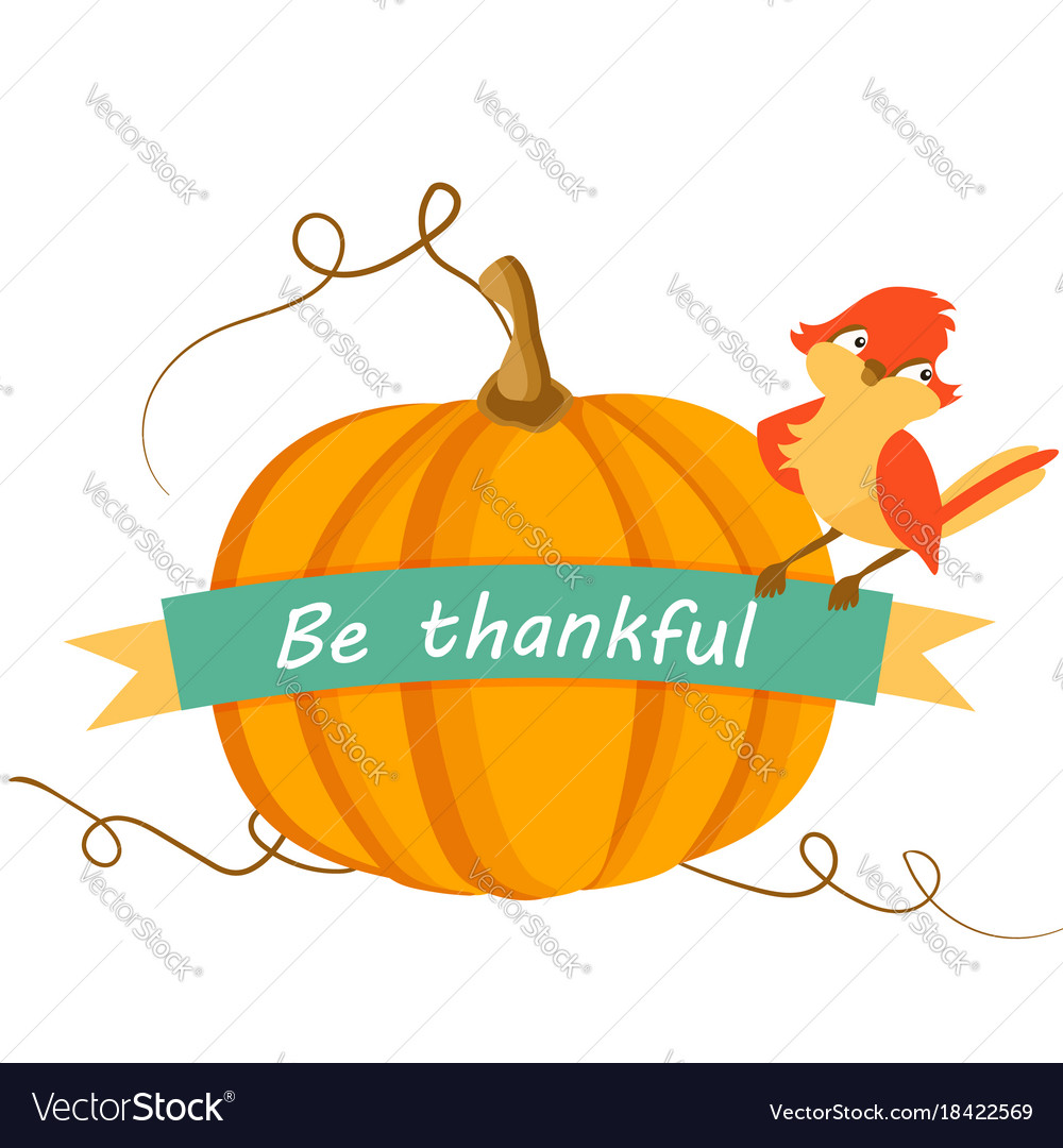 Thanksgiving card with pumpkin and cute bird vector image m4hsunfo