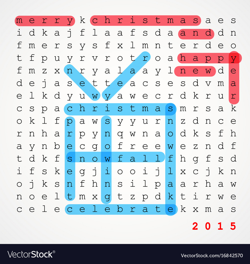 Christmas card word search puzzle Royalty Free Vector