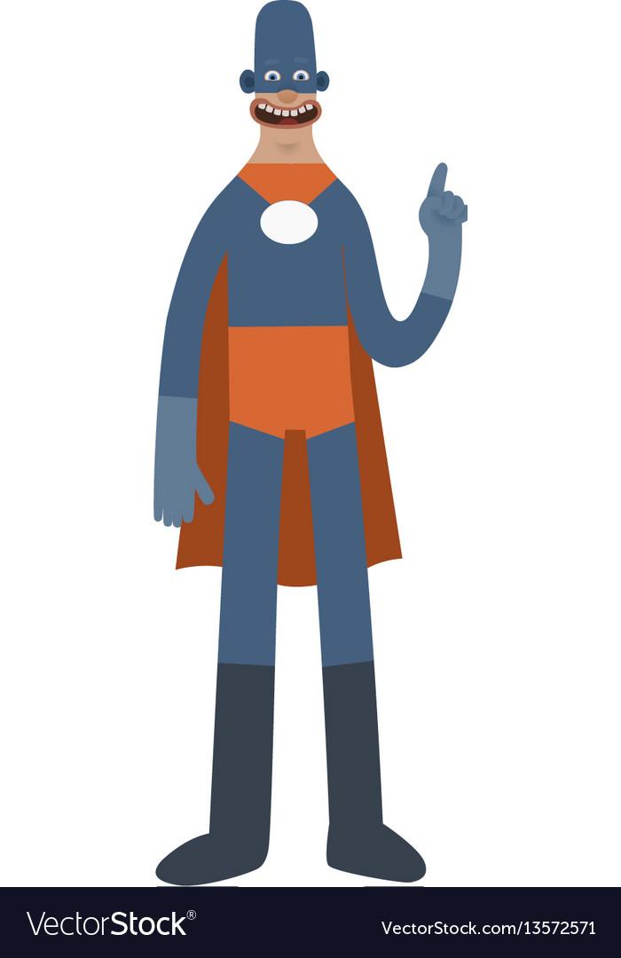 Funny superhero cartoon man character vector image