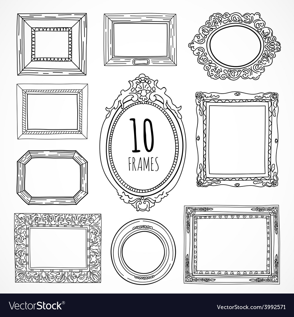 Hand drawn vintage frames made in vector image