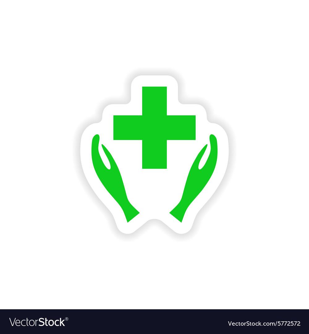 Icon sticker realistic design on paper health logo