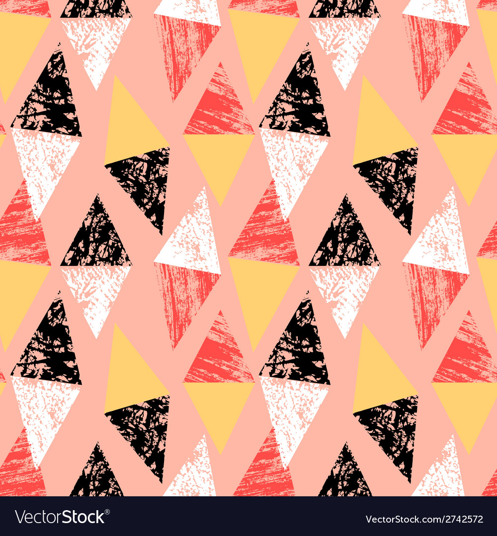 Grunge hand painted pattern with triangles vector image