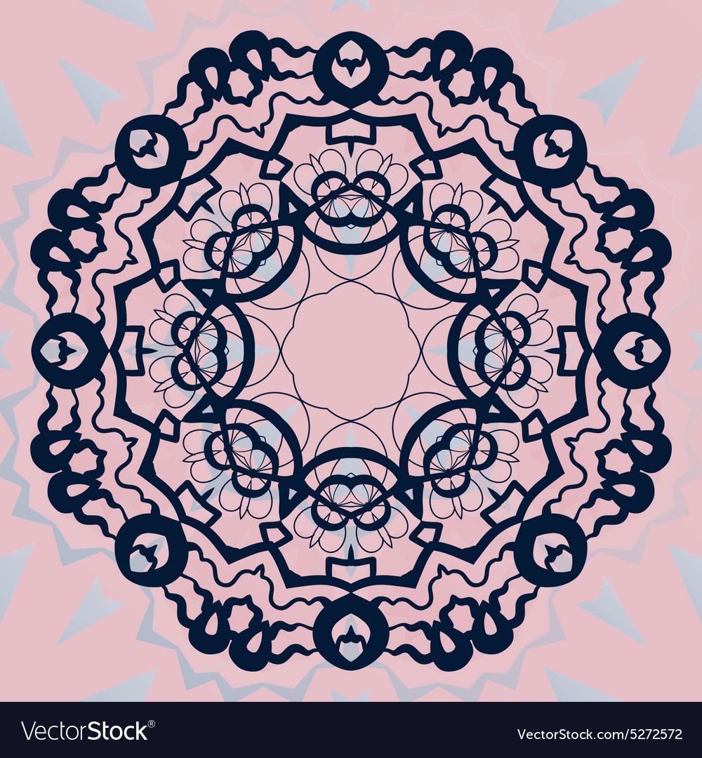 Ornate mandala flower Stylized ornament on pink vector image