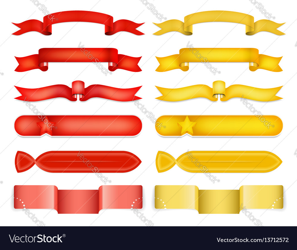 Red and yellow glossy ribbon vector image