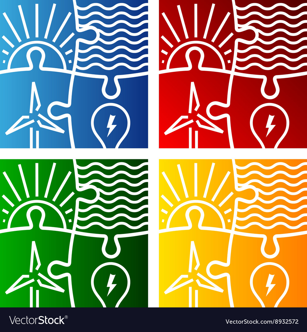 Renewable energy sign logo set vector image