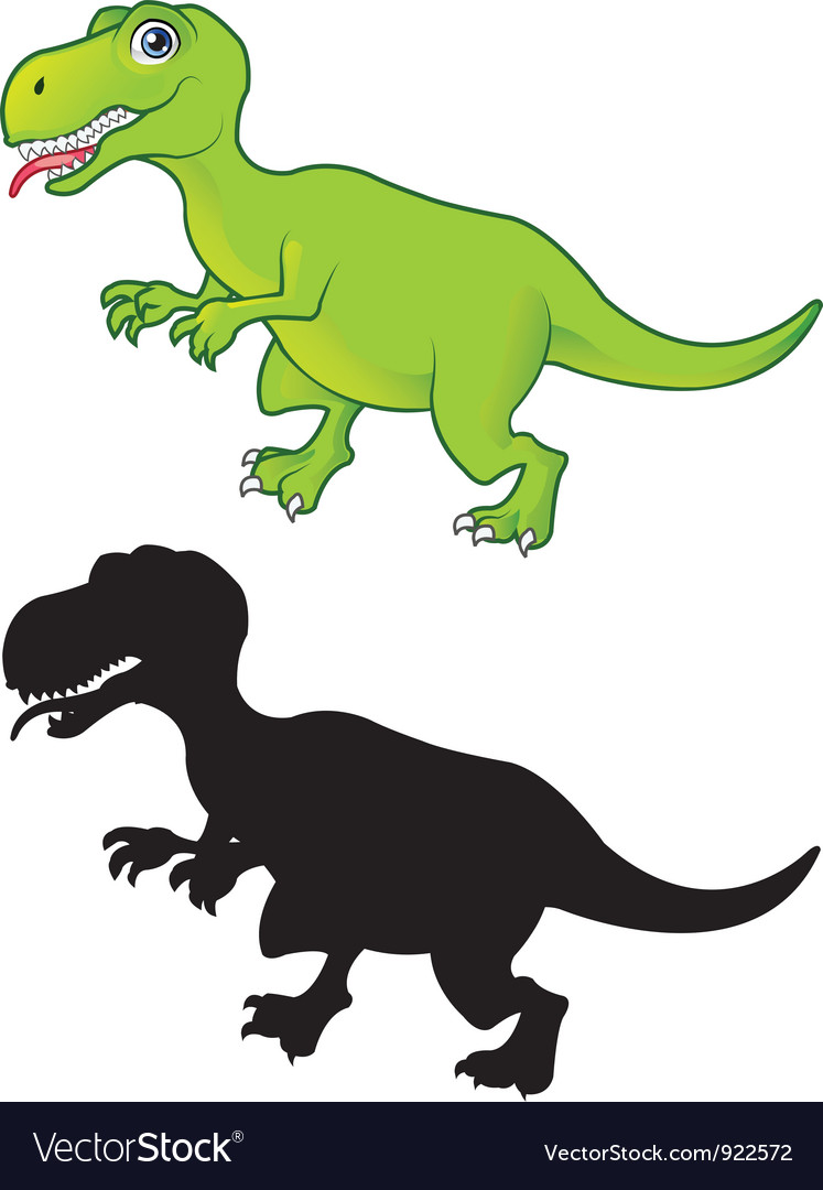 T Rex cartoon and silhouette vector image