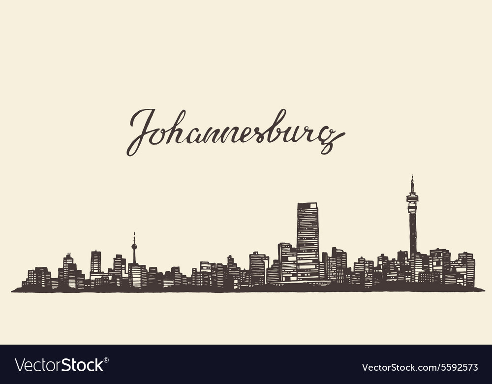 Johannesburg skyline engraved drawn sketch vector image thecheapjerseys Images
